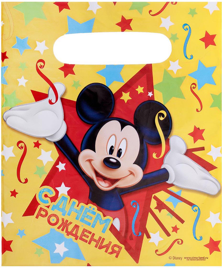 Пакет подарочный Disney Микки Маус. С днем рождения, цвет: мультиколор, 17 х 20 см. 1792506 пакет подарочный disney микки маус и друзья с днем рождения цвет мультиколор 34 х 40 см 2333376