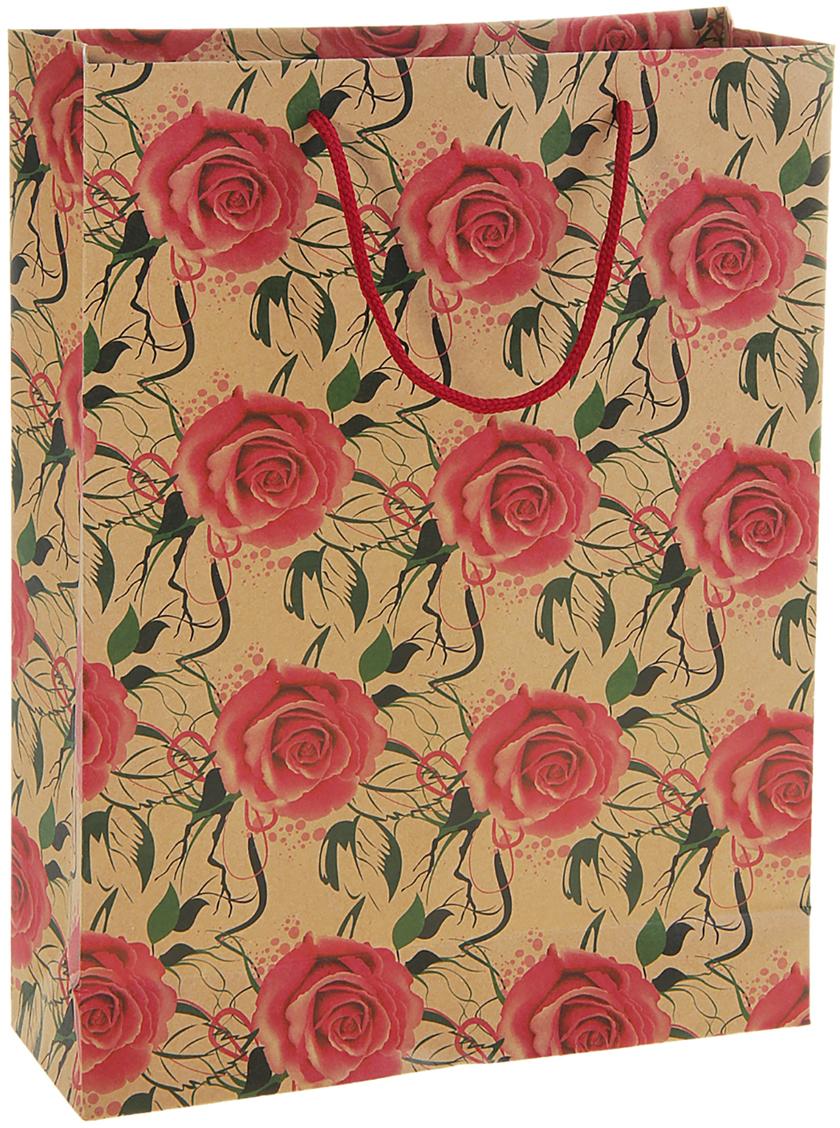 Пакет подарочный Розы, цвет: мультиколор, 8 х 24 х 33 см. 180611180611Крафт-пакет Розы из натуральной бумаги отличается высокой воздухопроницаемостью, имеет крепкое дно и крученые ручки. Также он свободно выдерживает относительно большой вес (до 10 кг), демонстрируя отличные показатели прочности, и не рвется острыми углами подарочной коробки. Практичность в использовании и разумная стоимость - все это характеризует удобную и абсолютно безопасную в применении упаковку. Модный сдержанный принт подойдет и для дорогой покупки из бутика, и для повседневных бытовых целей. Фирмы, упаковывающие свою продукцию таким образом, демонстрируют осведомленность в вопросах экологии, качества выпускаемых изделий и заботы о своих потребителях.