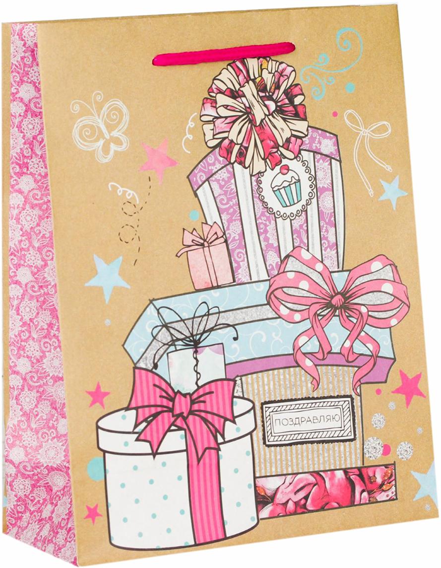 Пакет подарочный Дарите Счастье Долгожданные подарки, цвет: мультиколор, 23 х 8 х 27 см. 18303991830399Любой подарок начинается с упаковки. Что может быть трогательнее и волшебнее, чем ритуал разворачивания полученного презента. И именно оригинальная, со вкусом выбранная упаковка выделит ваш подарок из массы других. Она продемонстрирует самые теплые чувства к виновнику торжества и создаст сказочную атмосферу праздника - это то, что вы искали.