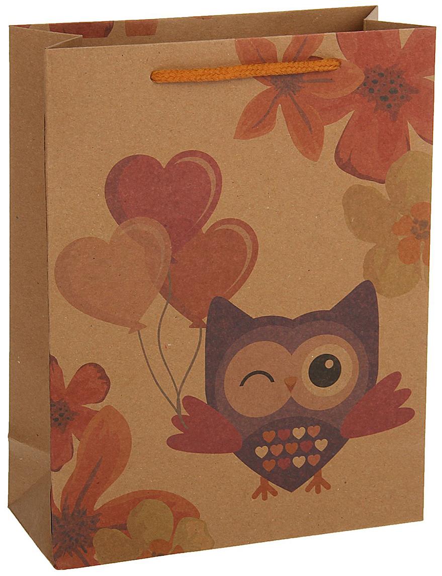 Пакет подарочный, цвет: коричневый, 33 х 24 х 8 см. 18492281849228Любой подарок начинается с упаковки. Что может быть трогательнее и волшебнее, чем ритуал разворачивания полученного презента. И именно оригинальная, со вкусом выбранная упаковка выделит ваш подарок из массы других. Она продемонстрирует самые теплые чувства к виновнику торжества и создаст сказочную атмосферу праздника - это то, что вы искали.