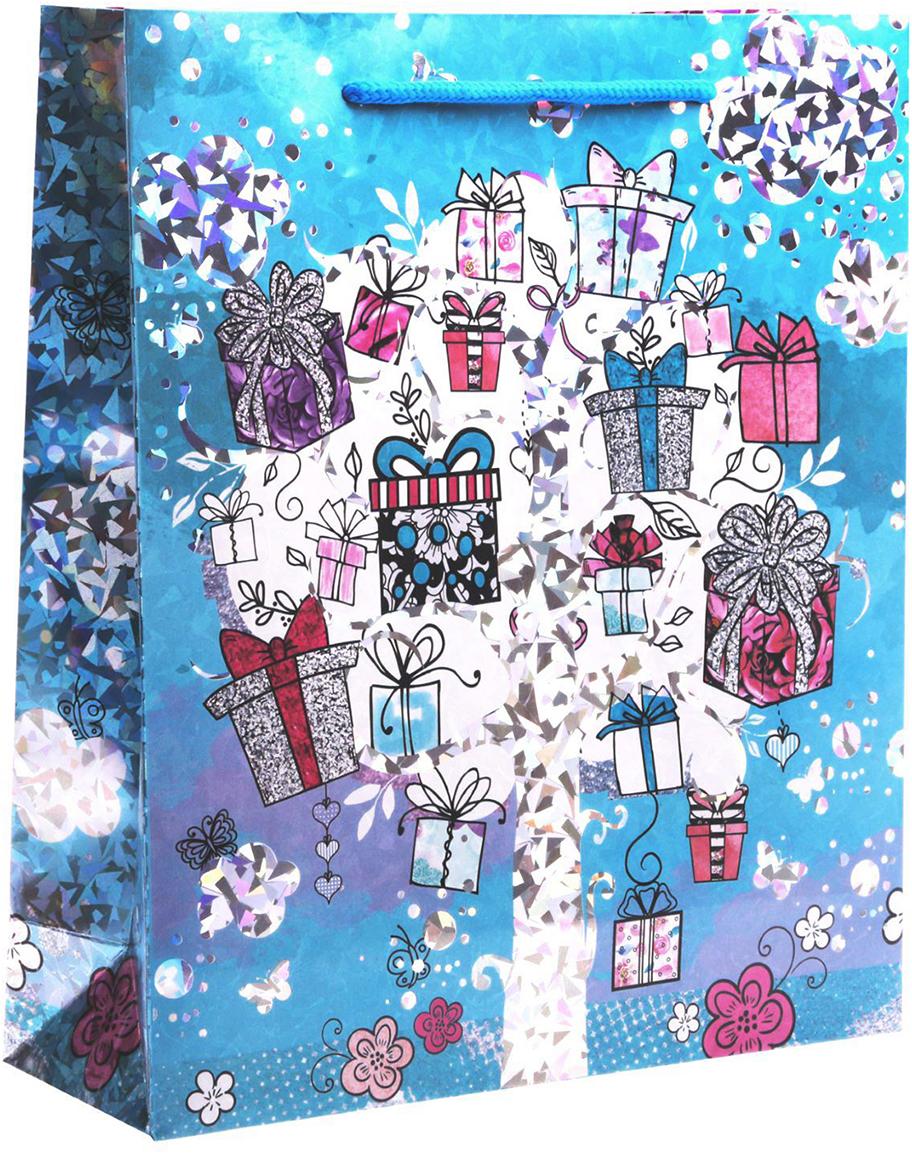 Пакет подарочный Дарите Счастье Подарочки, голография, цвет: мультиколор, 23 х 8 х 27 см. 18572461857246Любой подарок начинается с упаковки. Что может быть трогательнее и волшебнее, чем ритуал разворачивания полученного презента. И именно оригинальная, со вкусом выбранная упаковка выделит ваш подарок из массы других. Она продемонстрирует самые теплые чувства к виновнику торжества и создаст сказочную атмосферу праздника - это то, что вы искали.