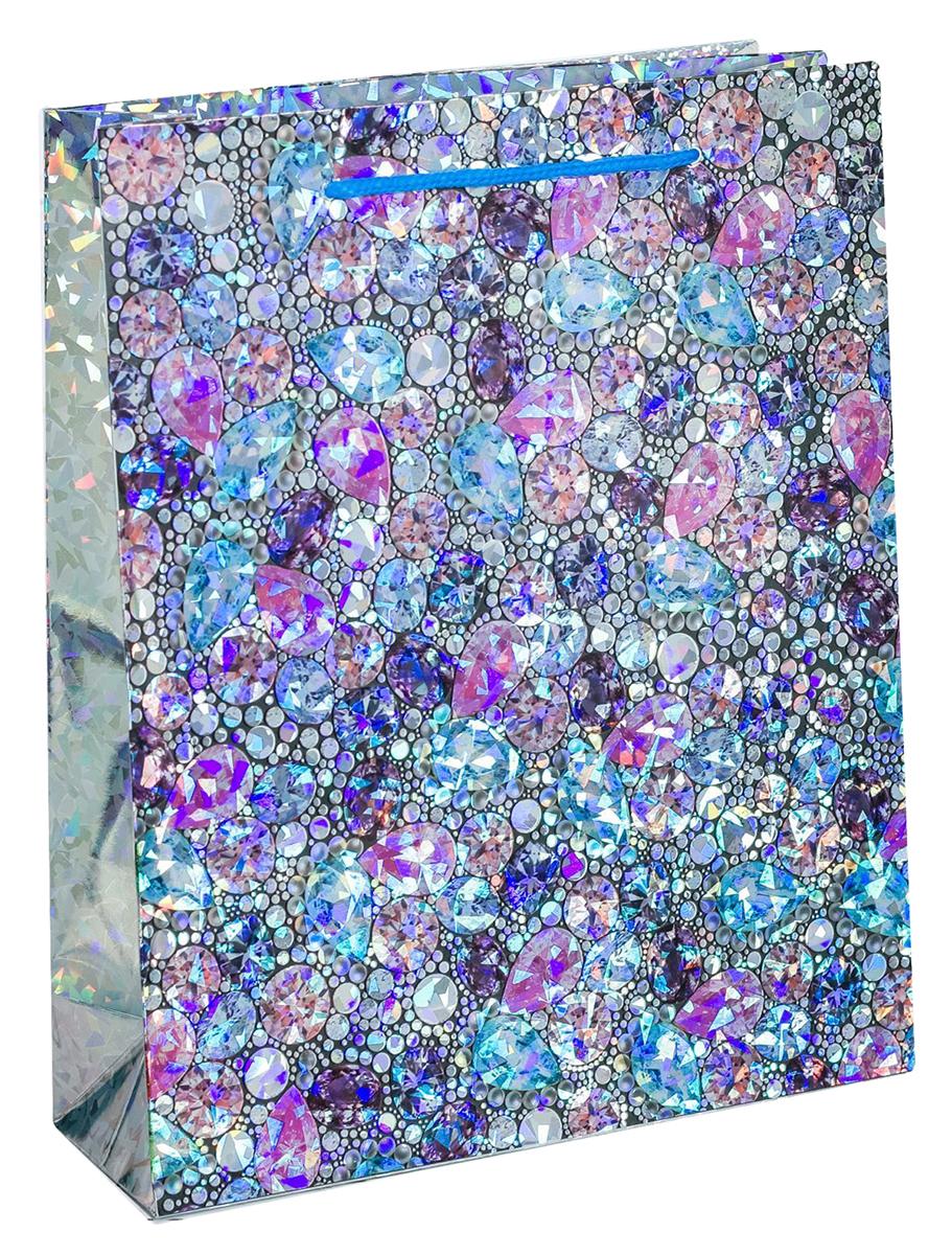 Пакет подарочный Дарите Счастье Самоцветы, голография, цвет: мультиколор, 23 х 8 х 27 см. 18572501857250Любой подарок начинается с упаковки. Что может быть трогательнее и волшебнее, чем ритуал разворачивания полученного презента. И именно оригинальная, со вкусом выбранная упаковка выделит ваш подарок из массы других. Она продемонстрирует самые теплые чувства к виновнику торжества и создаст сказочную атмосферу праздника - это то, что вы искали.