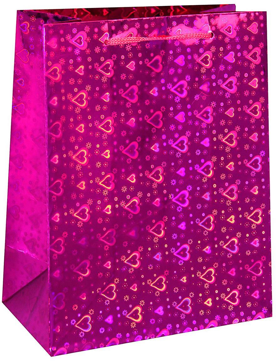 Пакет подарочный Сердечки, голографический, цвет: розовый, 15 х 12 х 6 см. 18858711885871Любой подарок начинается с упаковки. Что может быть трогательнее и волшебнее, чем ритуал разворачивания полученного презента. И именно оригинальная, со вкусом выбранная упаковка выделит ваш подарок из массы других. Она продемонстрирует самые теплые чувства к виновнику торжества и создаст сказочную атмосферу праздника. Пакет голографический Сердечки - это то, что вы искали.