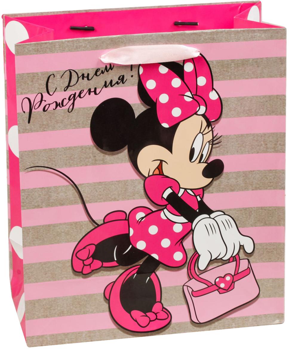 Пакет подарочный Disney Минни Маус. С Днем рождения, тебя!, цвет: мультиколор, 31 х 11 х 40 см. 19311351931135Подарки не обязательно делать только по важным поводам. Дарите их спонтанно, без причины, просто для души, ведь главное в этом процессе - удовольствие! А сколько радости получит адресат, когда увидит яркий ламинированный пакет с любимыми героями!Прочная ламинированная бумага с атласными ручками и уникальный дизайн делают его идеальным. Положите в него конфеты или игрушки, и ваш подарок не затеряется среди других.