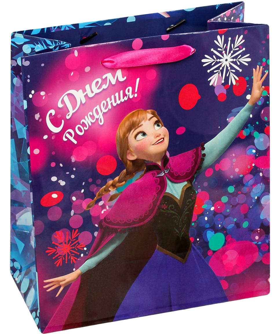 Пакет подарочный Disney Холодное сердце. С Днем рождения!, цвет: мультиколор, 18 х 10 х 23 см. 19311691931169Подарки не обязательно делать только по важным поводам. Дарите их спонтанно, без причины, просто для души, ведь главное в этом процессе - удовольствие! А сколько радости получит адресат, когда увидит яркий ламинированный пакет с любимыми героями!Прочная ламинированная бумага с атласными ручками и уникальный дизайн делают его идеальным. Положите в него конфеты или игрушки, и ваш подарок не затеряется среди других.