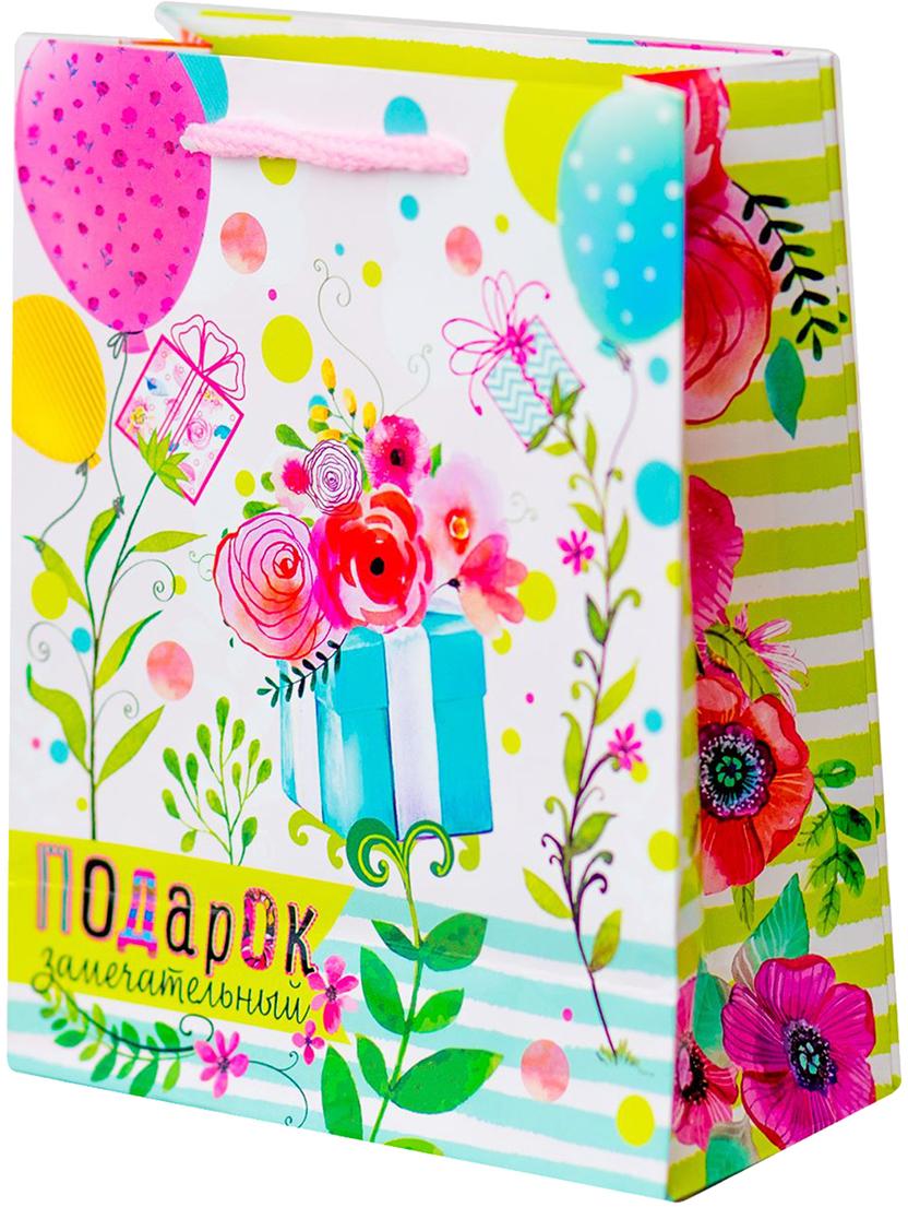 Пакет подарочный Дарите Счастье Подарок замечательный, цвет: мультиколор, 18 х 8 х 23 см. 19350701935070Любой подарок начинается с упаковки. Что может быть трогательнее и волшебнее, чем ритуал разворачивания полученного презента. И именно оригинальная, со вкусом выбранная упаковка выделит ваш подарок из массы других. Она продемонстрирует самые теплые чувства к виновнику торжества и создаст сказочную атмосферу праздника - это то, что вы искали.