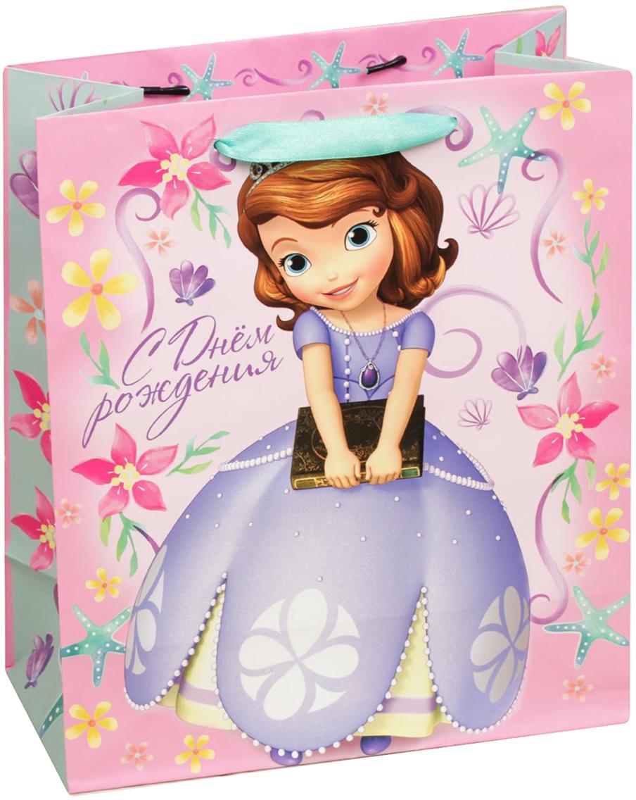 Пакет подарочный Disney София Прекрасная. С Днем рождения, милашка, цвет: мультиколор, 18 х 10 х 23 см. 20197262019726Подарки не обязательно делать только по важным поводам. Дарите их спонтанно, без причины, просто для души, ведь главное в этом процессе - удовольствие! А сколько радости получит адресат, когда увидит яркий ламинированный пакет с любимыми героями!Прочная ламинированная бумага с атласными ручками и уникальный дизайн делают его идеальным. Положите в него конфеты или игрушки, и ваш подарок не затеряется среди других.