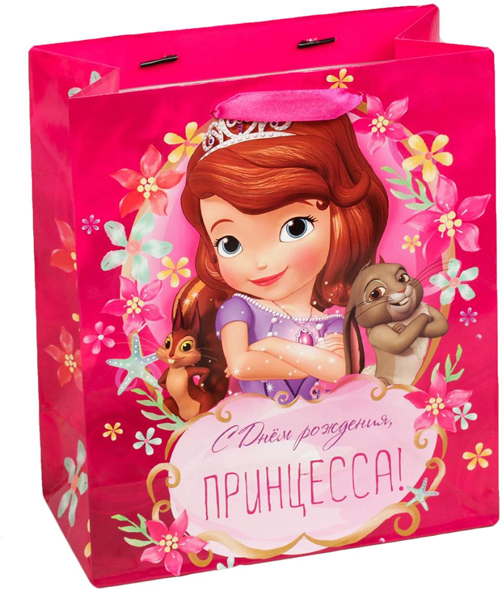 Пакет подарочный Disney София Прекрасная. С Днем рождения, принцесса, цвет: мультиколор, 31 х 11 х 40 см. 20197312019731Подарки не обязательно делать только по важным поводам. Дарите их спонтанно, без причины, просто для души, ведь главное в этом процессе - удовольствие! А сколько радости получит адресат, когда увидит яркий ламинированный пакет с любимыми героями!Прочная ламинированная бумага с атласными ручками и уникальный дизайн делают его идеальным. Положите в него конфеты или игрушки, и ваш подарок не затеряется среди других.