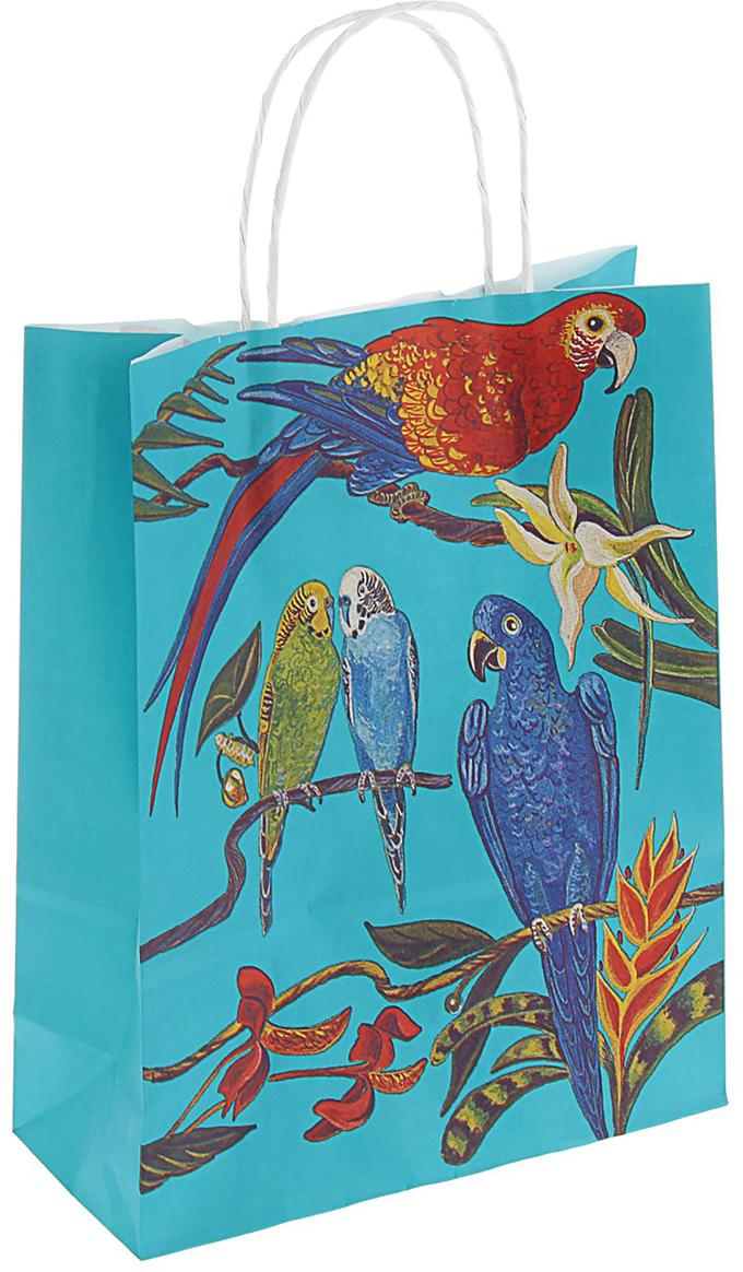 Пакет подарочный Попугайчики, цвет: голубой, 32 х 25 х 11 см. 22580902258090Любой подарок начинается с упаковки. Что может быть трогательнее и волшебнее, чем ритуал разворачивания полученного презента. И именно оригинальная, со вкусом выбранная упаковка выделит ваш подарок из массы других. Она продемонстрирует самые теплые чувства к виновнику торжества и создаст сказочную атмосферу праздника - это то, что вы искали.