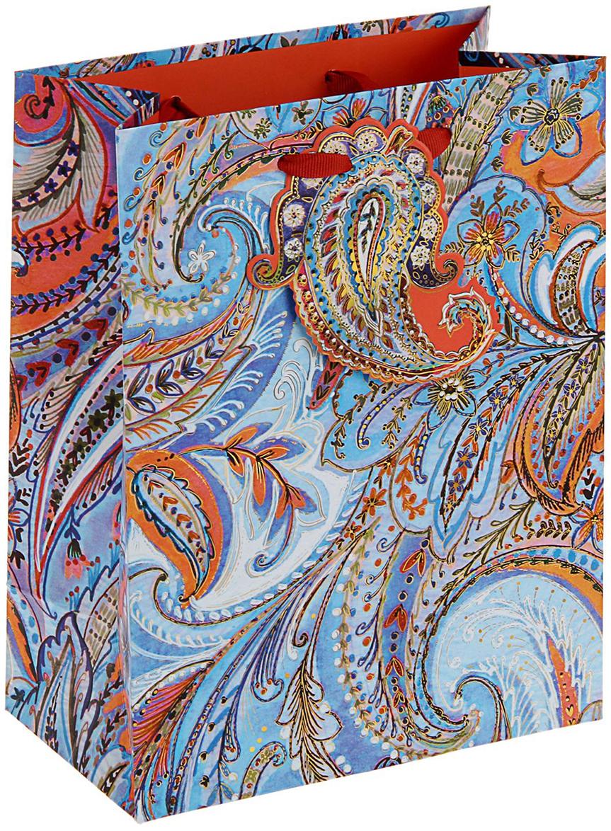 Пакет подарочный Арт и Дизайн Люкс. Орнамент, цвет: голубой, 23 х 17,8 х 9,8 см. 2378030 пакет подарочный арт и дизайн вояж цвет мультиколор 36 х 26 х 11 5 см 3092217