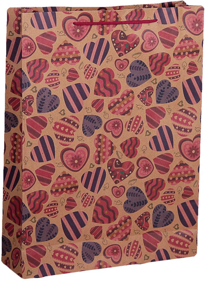 Пакет подарочный Разноцветные сердечки, цвет: мультиколор, 31,5 х 9,5 х 41,5 см. 2450957
