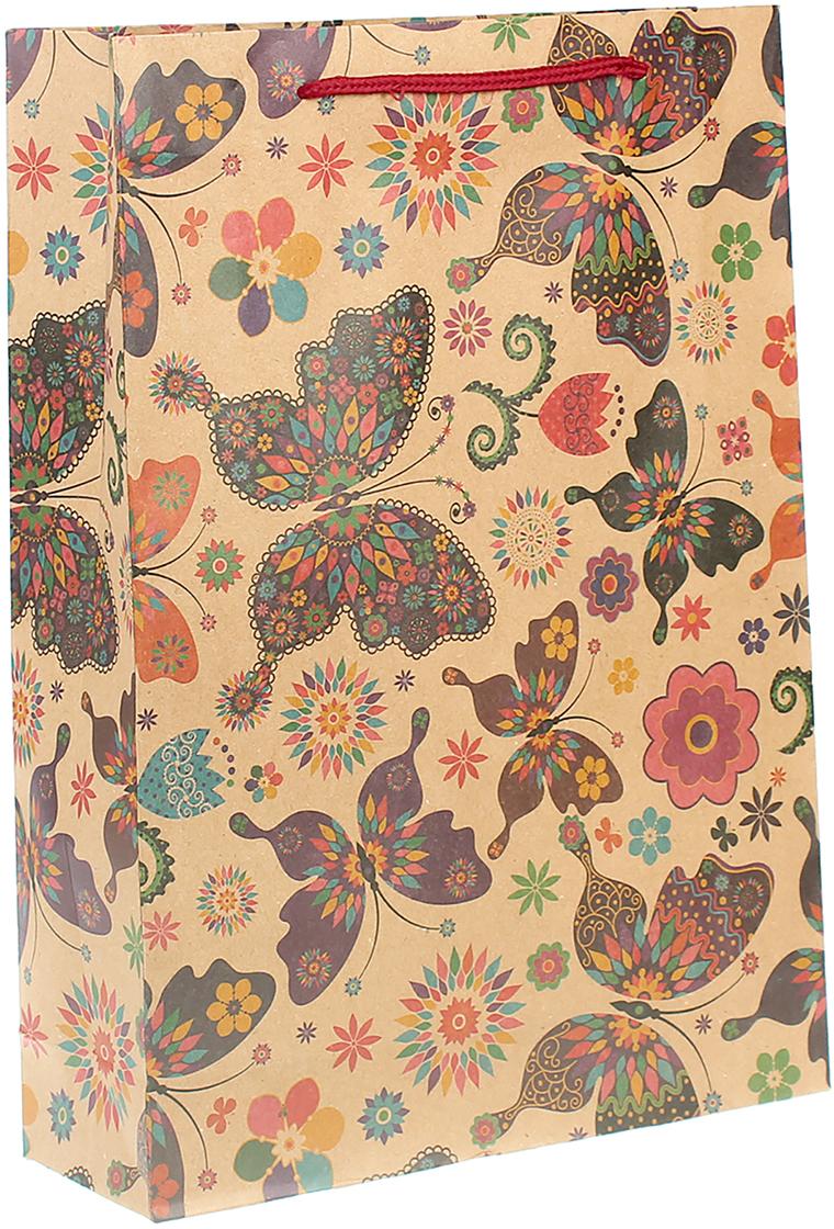 Пакет подарочный Цветные бабочки, цвет: мультиколор, 24 х 33 х 8 см. 24509962450996Любой подарок начинается с упаковки. Что может быть трогательнее и волшебнее, чем ритуал разворачивания полученного презента. И именно оригинальная, со вкусом выбранная упаковка выделит ваш подарок из массы других. Она продемонстрирует самые теплые чувства к виновнику торжества и создаст сказочную атмосферу праздника. Пакет-крафт Цветные бабочки - это то, что вы искали.