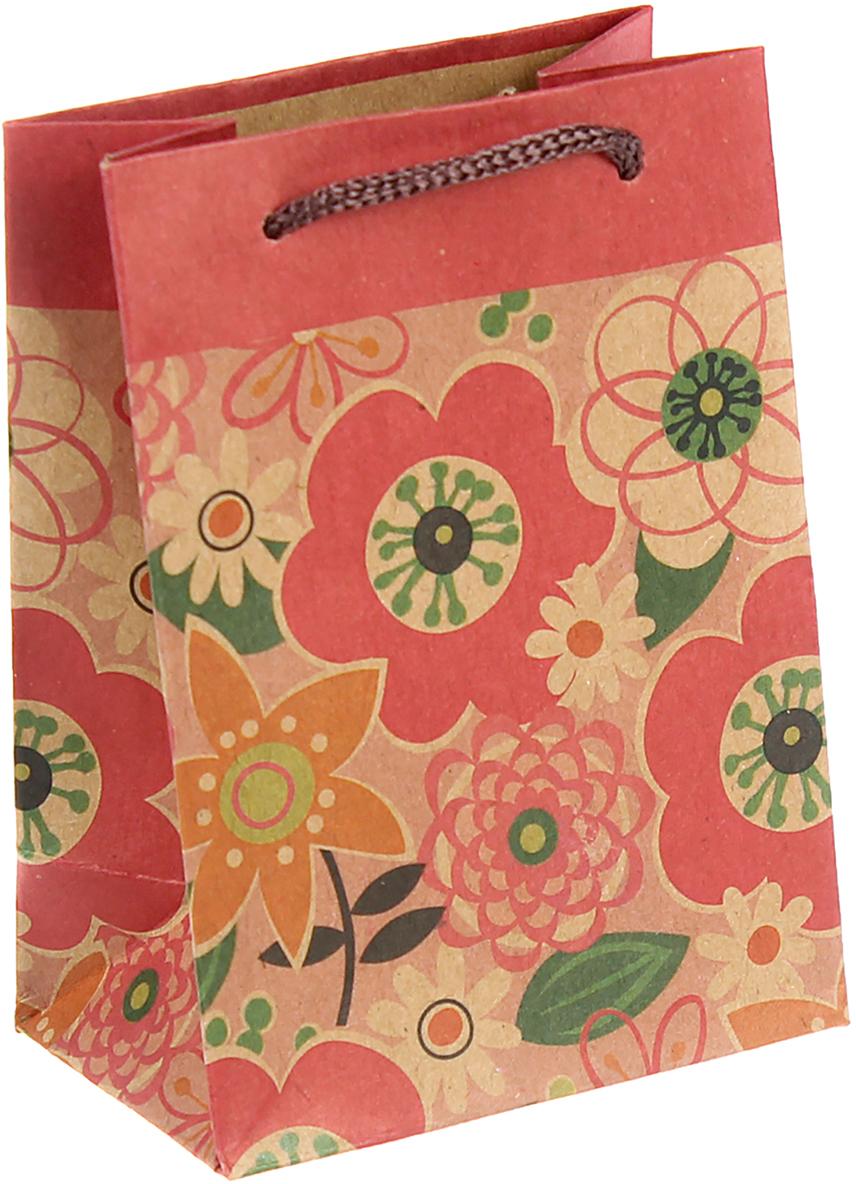 """Любой подарок начинается с упаковки. Что может быть трогательнее и волшебнее, чем ритуал разворачивания полученного презента. И именно оригинальная, со вкусом выбранная упаковка выделит ваш подарок из массы других. Она продемонстрирует самые теплые чувства к виновнику торжества и создаст сказочную атмосферу праздника. Пакет-крафт """"Цветы"""", 8 х 5 х 11 см - это то, что вы искали."""