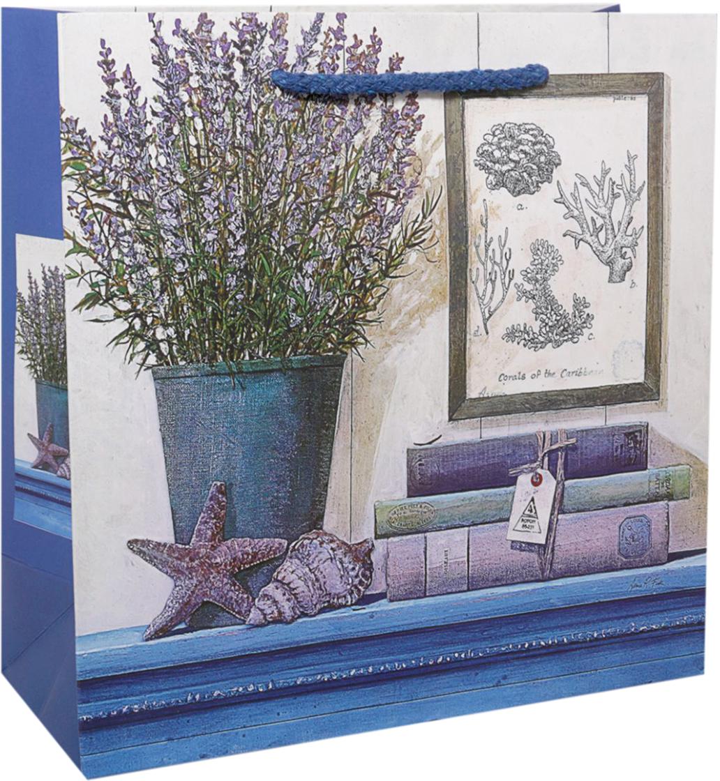 Пакет подарочный Лаванда, цвет: синий, 22 х 22 х 9 см. 2478273 пакет подарочный сирень цвет синий 22 х 22 х 9 см 2478276