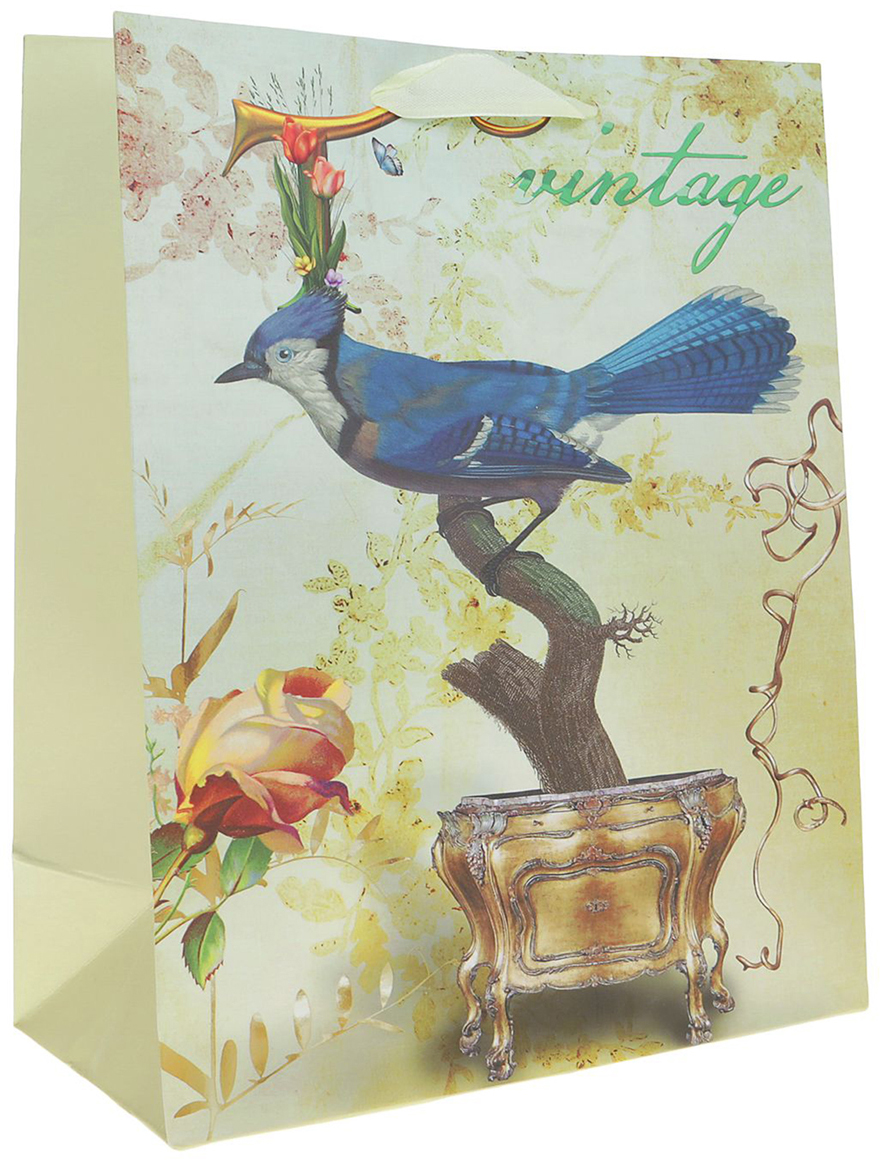 Пакет подарочный Люкс. Птичка, цвет: мультиколор, 26 х 10 х 32 см. 2490173 пакет подарочный люкс цветы цвет мультиколор 26 х 10 х 32 см 2490192
