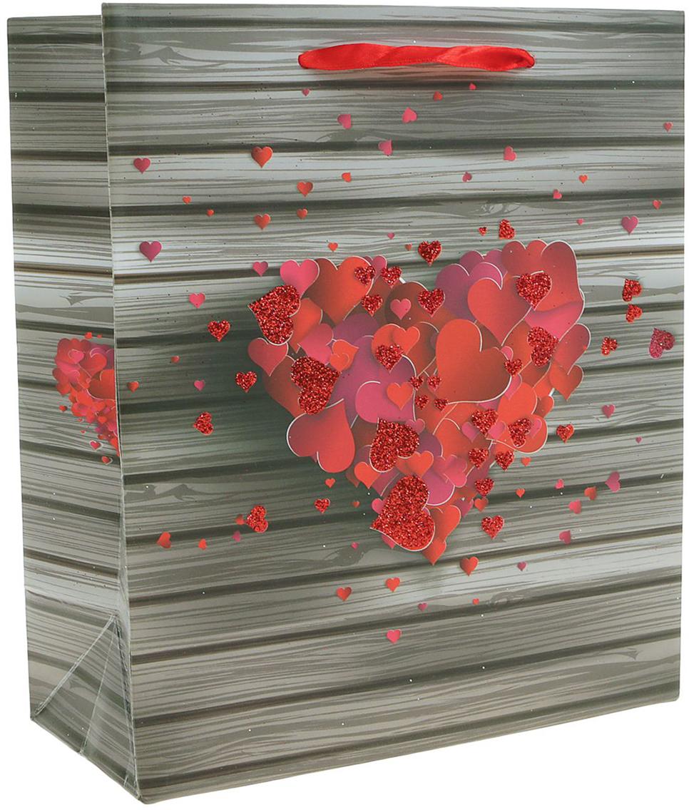 Пакет подарочный Люкс. Сердца, цвет: мультиколор, 26 х 10 х 32 см. 2490199 пакет подарочный люкс цветы цвет мультиколор 26 х 10 х 32 см 2490192