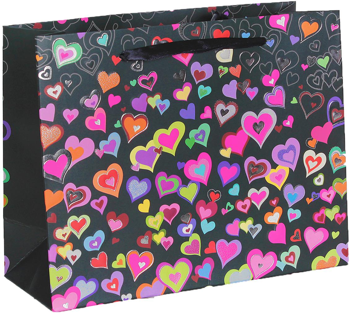 Пакет подарочный Люкс. Разноцветные сердечки, цвет: черный, 24,5 х 19 х 9 см. 2654359