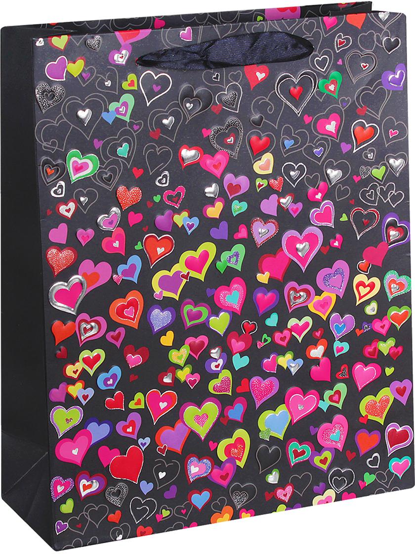 Пакет подарочный Люкс. Разноцветные сердечки, цвет: черный, 26 х 32 х 10 см. 2654362