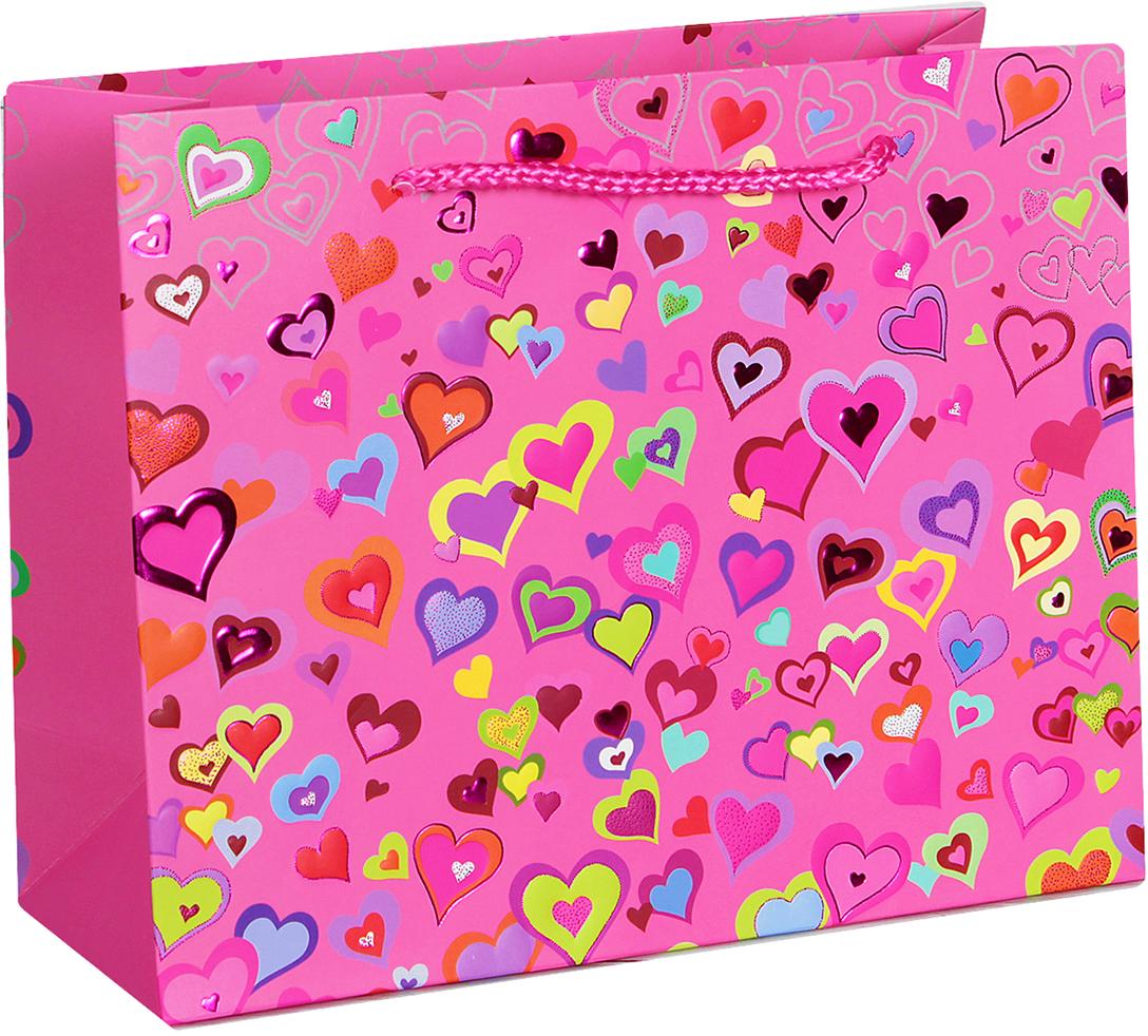 Пакет подарочный Люкс. Разноцветные сердечки, цвет: розовый, 45 х 34 х 12 см. 2654363