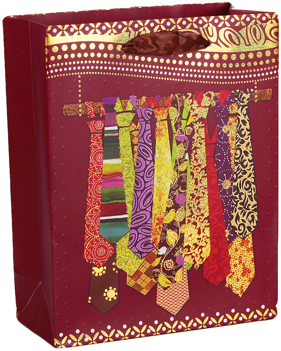 Пакет подарочный Люкс. Галстуки, цвет: бордовый, 18 х 8 х 23 см. 2654380 галстуки