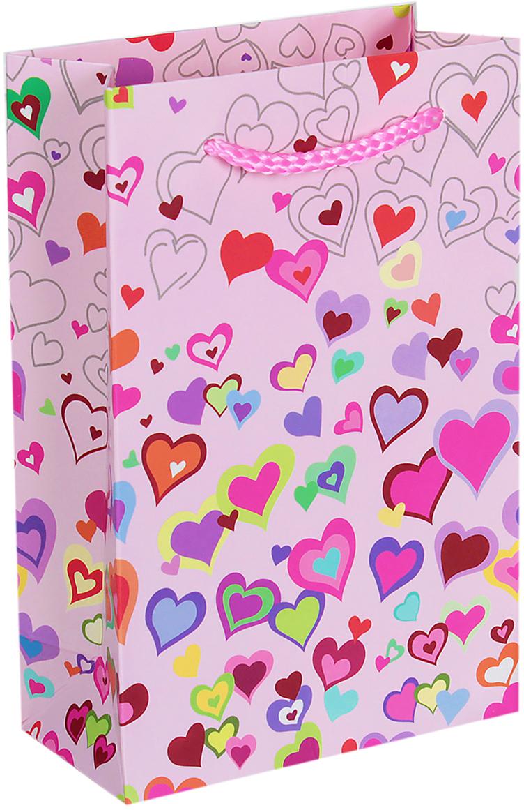 Пакет подарочный Люкс. Разноцветные сердечки, цвет: розовый, 18 х 12 х 6 см. 2654486