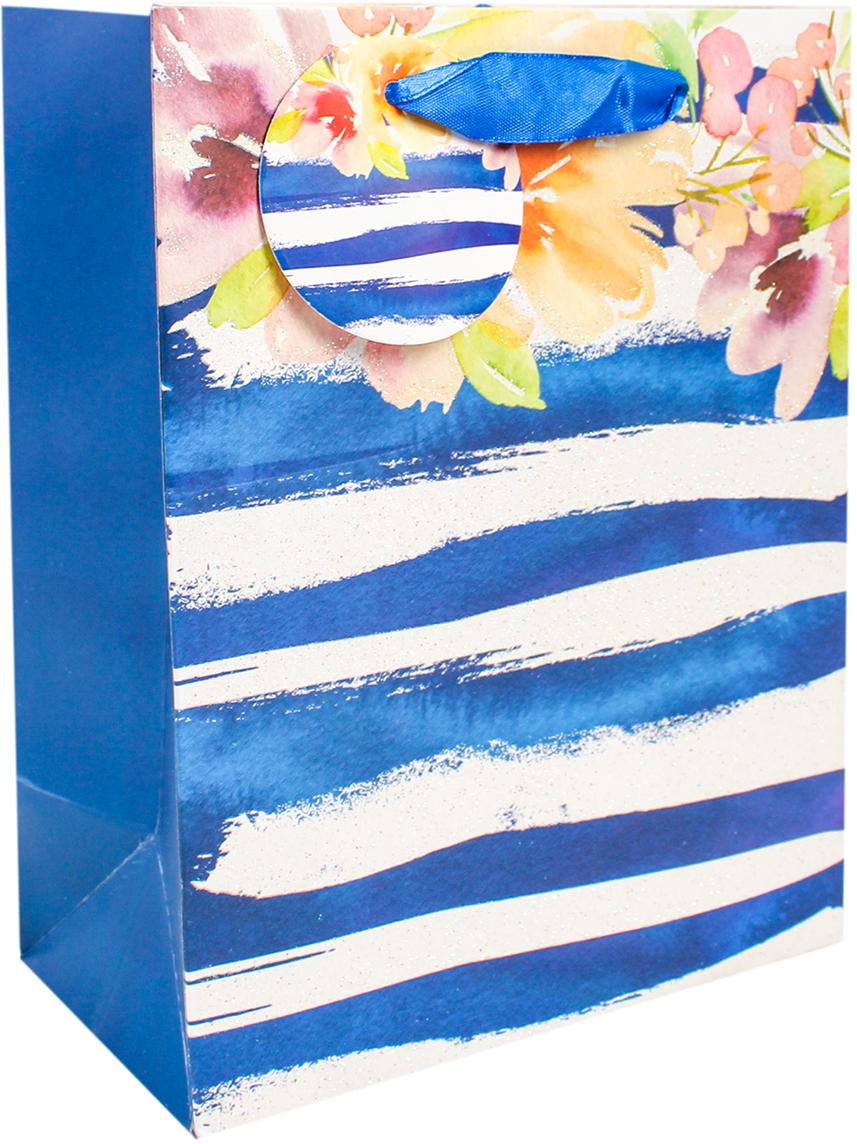 Пакет подарочный Люкс. Цветы, цвет: синий, 26 х 32 х 10 см. 26711022671102Любой подарок начинается с упаковки. Что может быть трогательнее и волшебнее, чем ритуал разворачивания полученного презента. И именно оригинальная, со вкусом выбранная упаковка выделит ваш подарок из массы других. Она продемонстрирует самые теплые чувства к виновнику торжества и создаст сказочную атмосферу праздника. Пакет подарочный Цветы, люкс - это то, что вы искали.