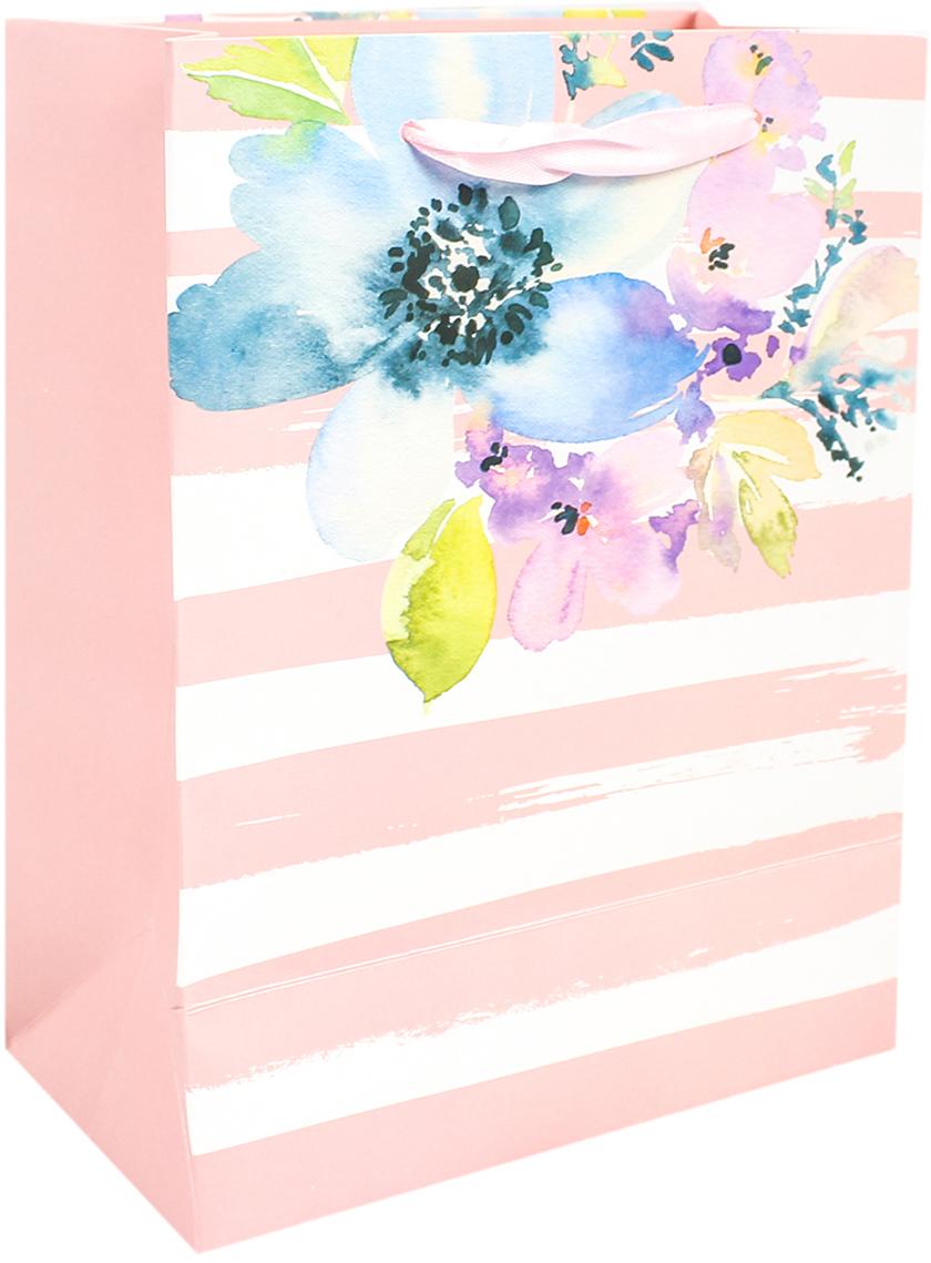 Пакет подарочный Люкс. Цветы, цвет: розовый, 26 х 32 х 10 см. 2671103 пакет подарочный люкс цветы цвет мультиколор 26 х 10 х 32 см 2490192