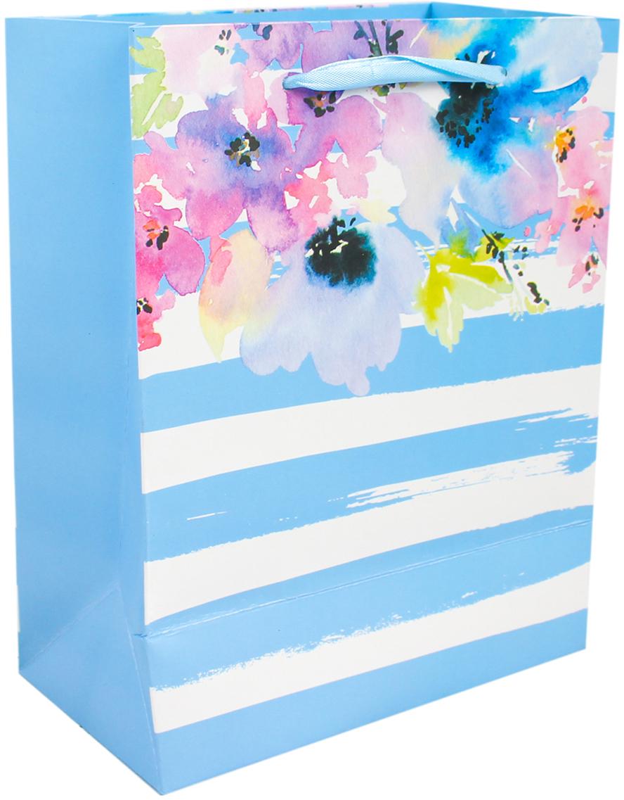 Пакет подарочный Люкс. Цветы, цвет: голубой, 26 х 32 х 10 см. 2671104 пакет подарочный люкс цветы цвет мультиколор 26 х 10 х 32 см 2490192