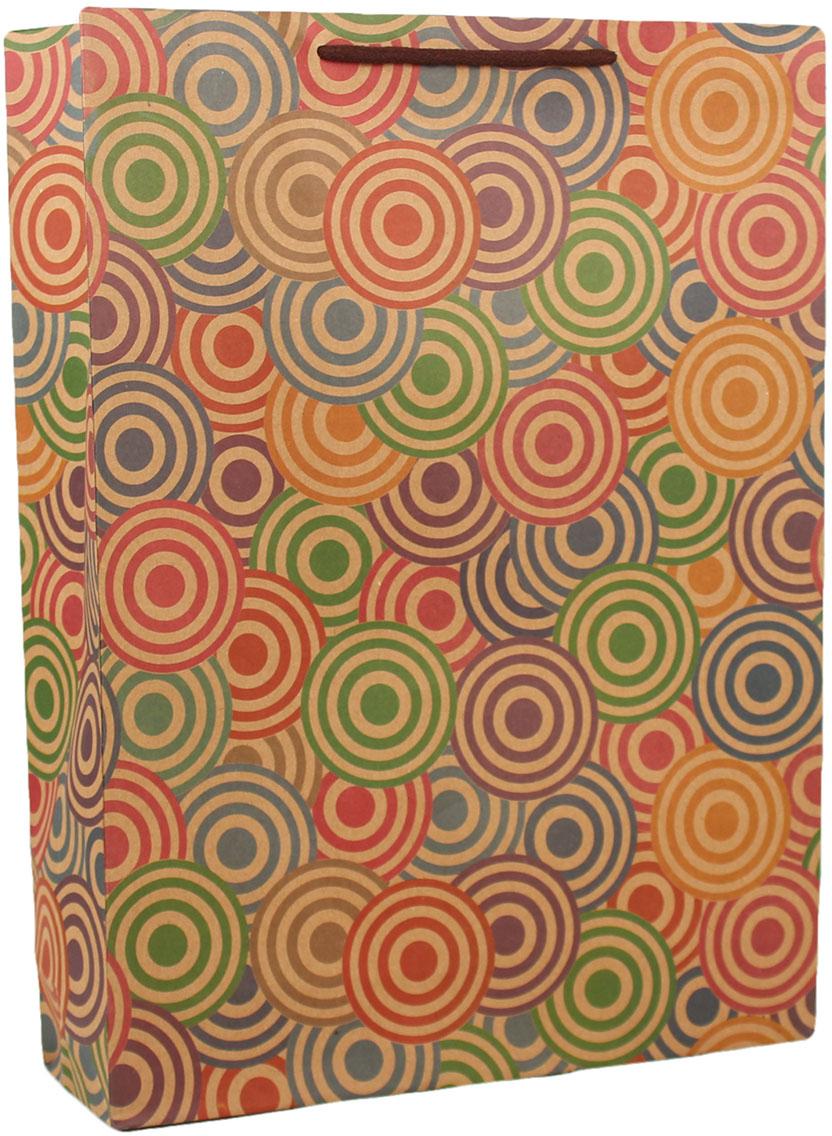 Пакет подарочный Цветные круги, цвет: мультиколор, 10 х 32 х 42 см. 26872562687256Любой подарок начинается с упаковки. Что может быть трогательнее и волшебнее, чем ритуал разворачивания полученного презента. И именно оригинальная, со вкусом выбранная упаковка выделит ваш подарок из массы других. Она продемонстрирует самые теплые чувства к виновнику торжества и создаст сказочную атмосферу праздника. Пакет-крафт Цветные круги - это то, что вы искали.