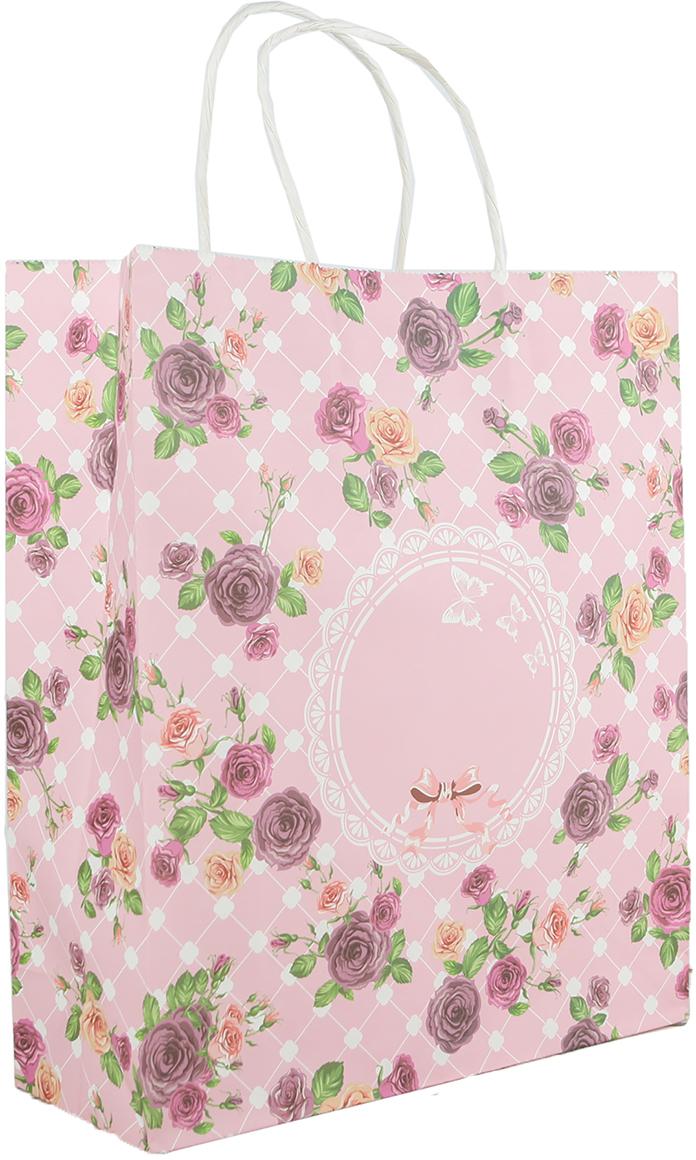 Пакет подарочный Розочки, цвет: розовый, 29 х 10 х 32 см. 27697592769759Любой подарок начинается с упаковки. Что может быть трогательнее и волшебнее, чем ритуал разворачивания полученного презента. И именно оригинальная, со вкусом выбранная упаковка выделит ваш подарок из массы других. Она продемонстрирует самые теплые чувства к виновнику торжества и создаст сказочную атмосферу праздника. Пакет-крафт Розочки - это то, что вы искали.
