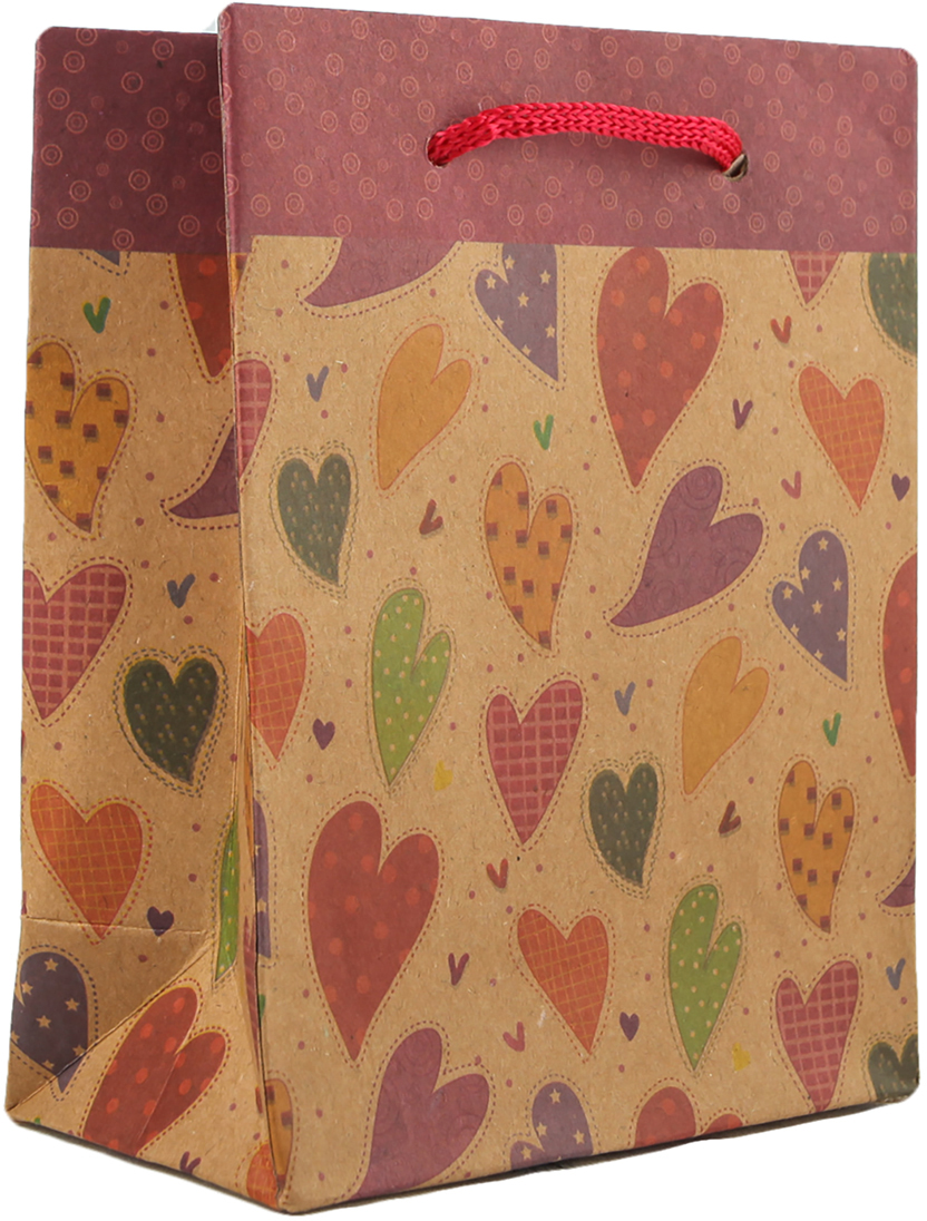 Пакет подарочный Разноцветные сердца, цвет: мультиколор, 11,5 х 14,5 х 6 см. 2790914