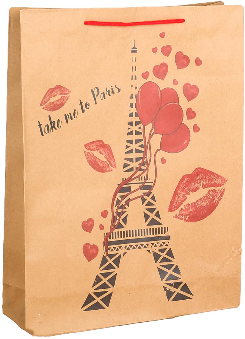 Пакет подарочный Романтический Париж, цвет: коричневый, 31 х 10 х 42 см. 27909502790950Любой подарок начинается с упаковки. Что может быть трогательнее и волшебнее, чем ритуал разворачивания полученного презента. И именно оригинальная, со вкусом выбранная упаковка выделит ваш подарок из массы других. Она продемонстрирует самые теплые чувства к виновнику торжества и создаст сказочную атмосферу праздника. Пакет-крафт Романтический Париж - это то, что вы искали.