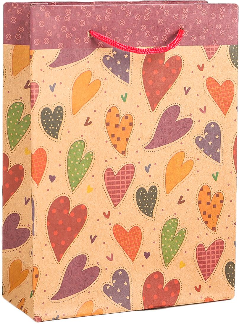 Пакет подарочный Разноцветные сердца, цвет: мультиколор, 31 х 10 х 42 см. 2790954