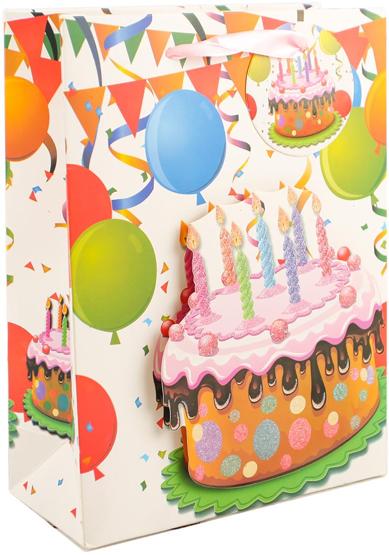 Пакет подарочный С днем рождения, цвет: мультиколор, 30 х 42 х 12 см. 27910242791024Любой подарок начинается с упаковки. Что может быть трогательнее и волшебнее, чем ритуал разворачивания полученного презента. И именно оригинальная, со вкусом выбранная упаковка выделит ваш подарок из массы других. Она продемонстрирует самые теплые чувства к виновнику торжества и создаст сказочную атмосферу праздника. Пакет подарочный С днем рождения - это то, что вы искали.