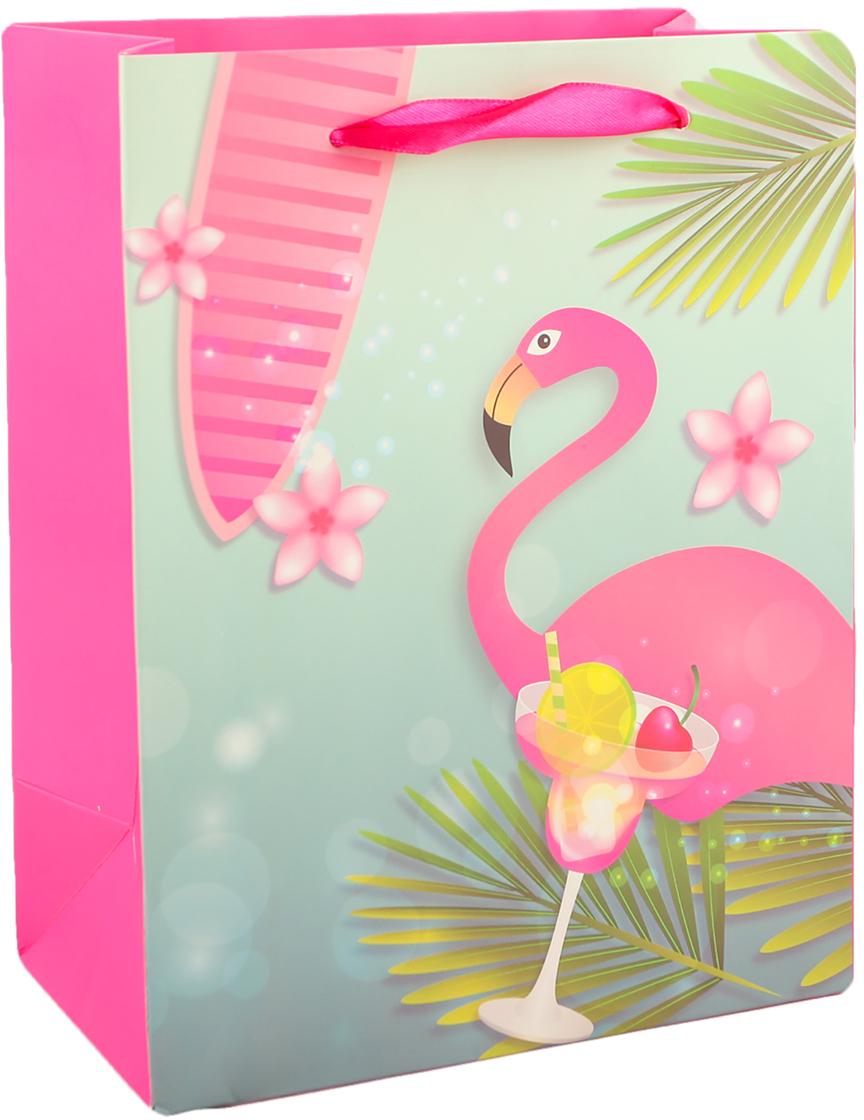 "Пакет подарочный ""Фламинго"", цвет: розовый, 18 х 24 х 8 см. 2791032"
