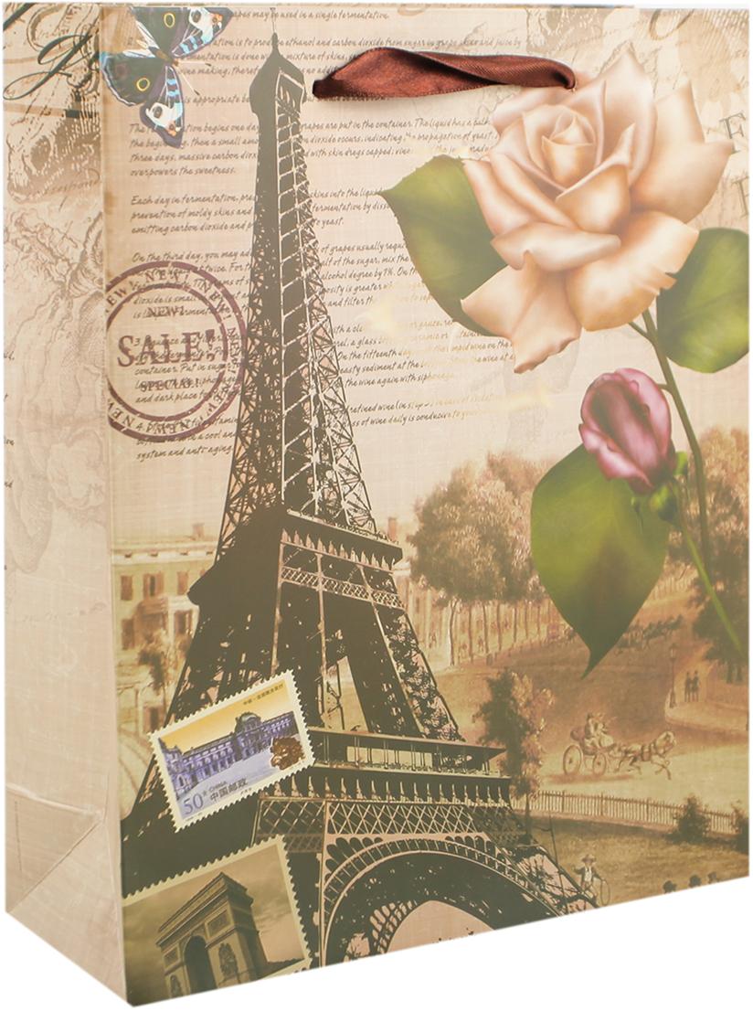 Пакет подарочный Эйфелева башня, цвет: коричневый, 26 х 32 х 10 см. 27910412791041Любой подарок начинается с упаковки. Что может быть трогательнее и волшебнее, чем ритуал разворачивания полученного презента. И именно оригинальная, со вкусом выбранная упаковка выделит ваш подарок из массы других. Она продемонстрирует самые теплые чувства к виновнику торжества и создаст сказочную атмосферу праздника. Пакет подарочный Эйфелева башня - это то, что вы искали.