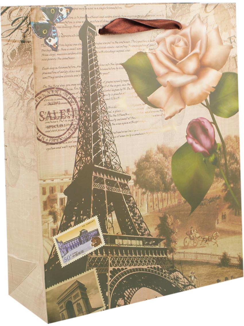 Пакет подарочный Эйфелева башня, цвет: коричневый, 30 х 42 х 12 см. 27910492791049Любой подарок начинается с упаковки. Что может быть трогательнее и волшебнее, чем ритуал разворачивания полученного презента. И именно оригинальная, со вкусом выбранная упаковка выделит ваш подарок из массы других. Она продемонстрирует самые теплые чувства к виновнику торжества и создаст сказочную атмосферу праздника. Пакет подарочный Эйфелева башня - это то, что вы искали.