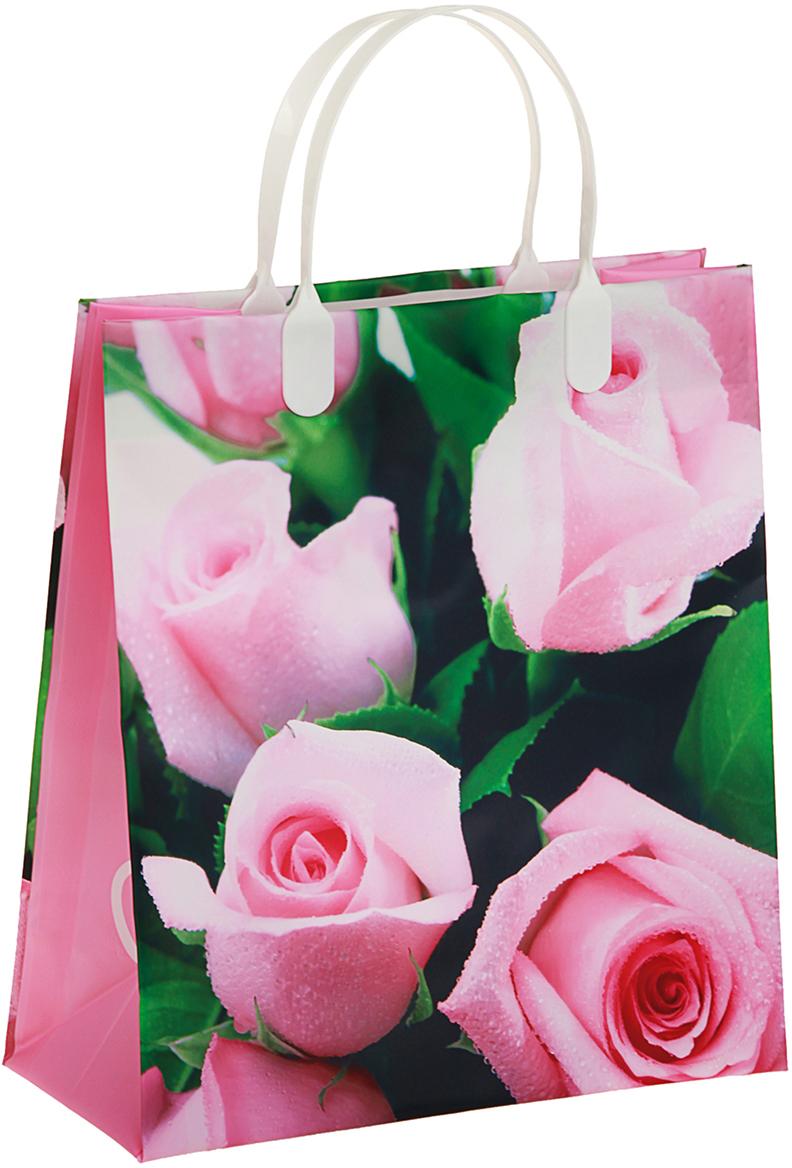 Пакет подарочный Розовые розы, цвет: розовый, 23 х 10 х 26 см. 29802252980225Любой подарок начинается с упаковки. Что может быть трогательнее и волшебнее, чем ритуал разворачивания полученного презента. И именно оригинальная, со вкусом выбранная упаковка выделит ваш подарок из массы других. Она продемонстрирует самые теплые чувства к виновнику торжества и создаст сказочную атмосферу праздника. Пакет Розовые розы, мягий пластик, объемный - это то, что вы искали.