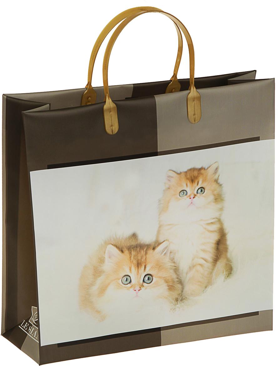 Пакет подарочный Котята, цвет: коричневый, 30 х 30 х 10 см. 29802342980234Любой подарок начинается с упаковки. Что может быть трогательнее и волшебнее, чем ритуал разворачивания полученного презента. И именно оригинальная, со вкусом выбранная упаковка выделит ваш подарок из массы других. Она продемонстрирует самые теплые чувства к виновнику торжества и создаст сказочную атмосферу праздника. Пакет Котята, мягий пластик, объемный - это то, что вы искали.