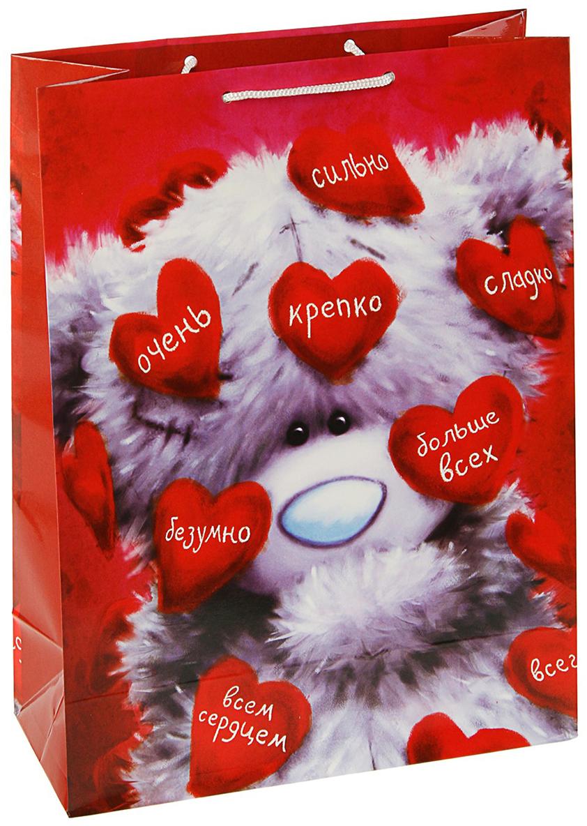 Пакет подарочный Me to You Люблю, цвет: мультиколор, 14,5 х 11,5 х 6,5 см. 3092181 футболка для беременных printio мишка me to you