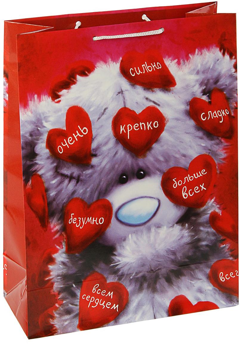 Пакет подарочный Me to You Люблю, цвет: мультиколор, 36 х 26 х 11,5 см. 30922163092216Любой подарок начинается с упаковки. Что может быть трогательнее и волшебнее, чем ритуал разворачивания полученного презента. И именно оригинальная, со вкусом выбранная упаковка выделит ваш подарок из массы других. Она продемонстрирует самые теплые чувства к виновнику торжества и создаст сказочную атмосферу праздника. Пакет подарочный Люблю - это то, что вы искали.