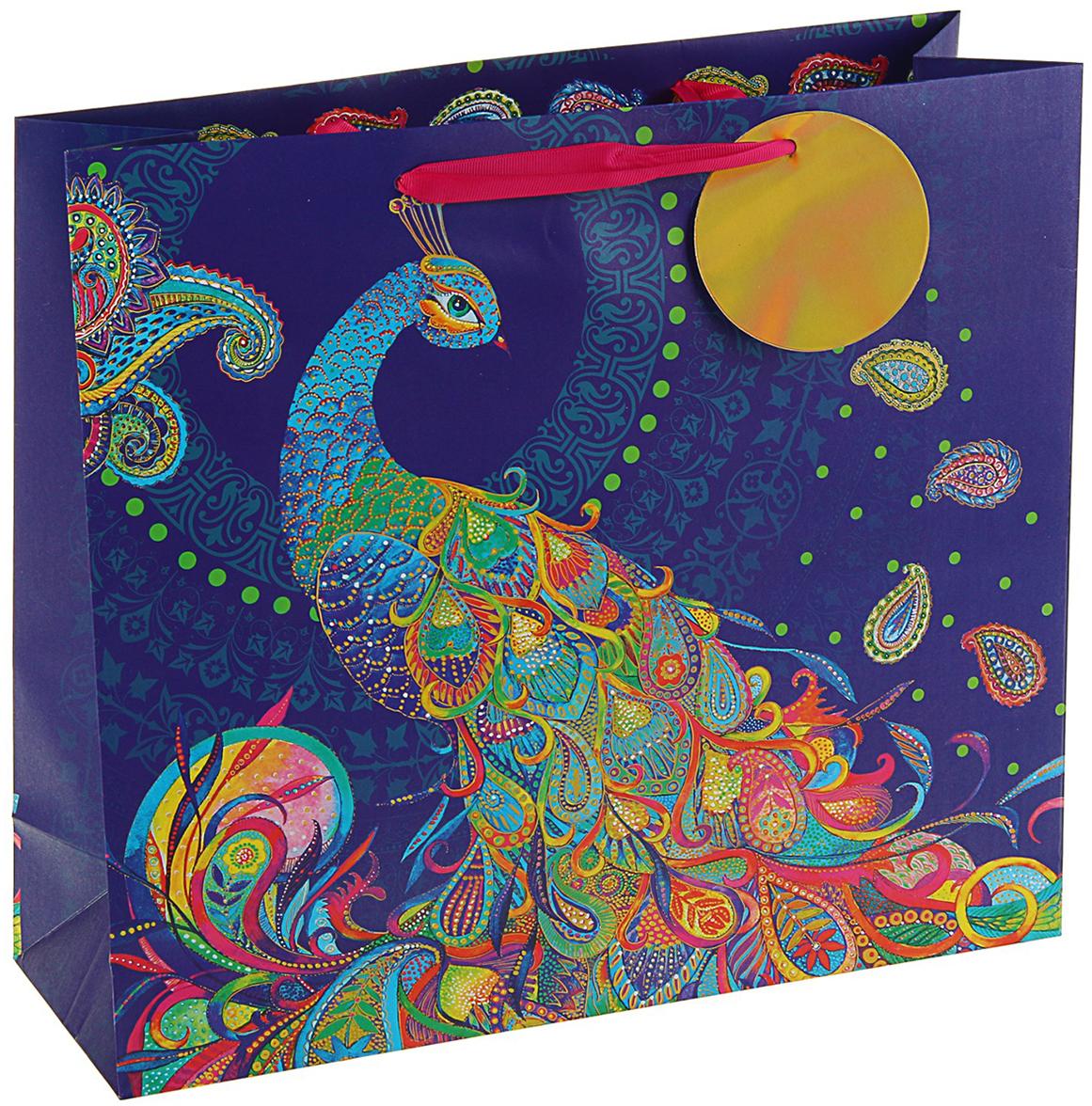 Пакет подарочный Арт и Дизайн Люкс. Райская птица, цвет: мультиколор, 32 х 36 х 12 см. 3092257 пакет подарочный арт и дизайн вояж цвет мультиколор 36 х 26 х 11 5 см 3092217