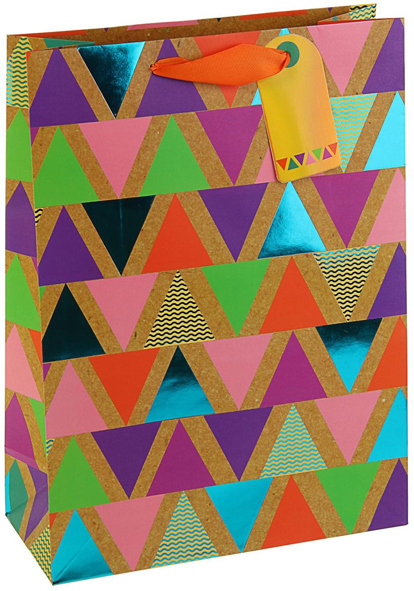 Пакет подарочный Арт и Дизайн Люкс. Пирамидки, цвет: мультиколор, 32 х 26,4 х 12 см. 3092268 пакет подарочный арт и дизайн вояж цвет мультиколор 36 х 26 х 11 5 см 3092217