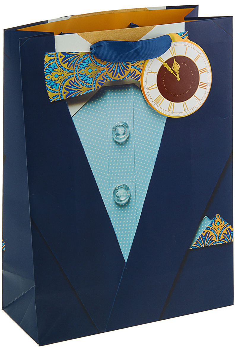 Пакет подарочный Арт и Дизайн Люкс. Мужской, цвет: мультиколор, 32 х 26,4 х 12 см. 30922703092270Любой подарок начинается с упаковки. Что может быть трогательнее и волшебнее, чем ритуал разворачивания полученного презента. И именно оригинальная, со вкусом выбранная упаковка выделит ваш подарок из массы других. Она продемонстрирует самые теплые чувства к виновнику торжества и создаст сказочную атмосферу праздника. Пакет подарочный Мужской люкс - это то, что вы искали.