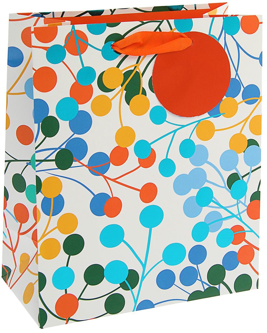 Пакет подарочный Арт и Дизайн Люкс. Разноцветные фонарики, цвет: мультиколор, 24 х 20 х 10,2 см. 3092276