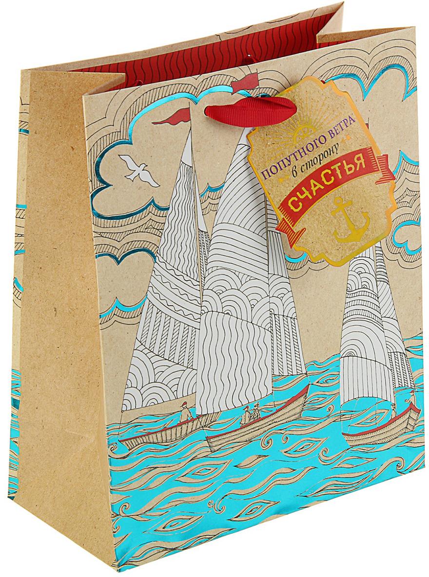 Пакет подарочный Арт и Дизайн Люкс. Попутный ветер, цвет: мультиколор, 24 х 20 х 10,2 см. 3092280 арт дизайн подарочный набор открытка с ручкой 0701 051