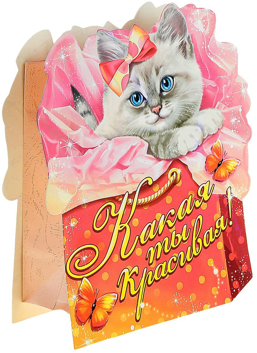 Пакет-открытка подарочный Дарите Счастье Котенок, цвет: мультиколор, 5,5 х 15,7 х 18,8 см. 722415722415Фигурный пакет - это подарочная упаковка 2 в 1. Пакет, выполненный из плотной бумаги 180 г/м2, и открытка с фигурной вырубкой, приклеенная сверху. Удивляйте не только подарком, но и его оформлением!