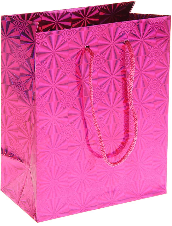 Пакет подарочный Рисунок, голографический, цвет: розовый, 11,5 х 6,5 х 14,5 см. 822495822495Пакет голографический - самый удобный и практичный способ оформления подарков: сначала он радует глаз в момент вручения сюрприза, а потом его можно использовать для хранения различных мелочей. Дно изделия укреплено плотным картоном, который позволяет пакету сохранять форму и исключает возможность деформации дна под тяжестью презента. Изделие изготовлено из глянцевой бумаги с офсетной печатью, обладает блеском и создаёт приятные тактильные ощущения. Для удобной переноски на пакете имеются две ручки из шнурков.