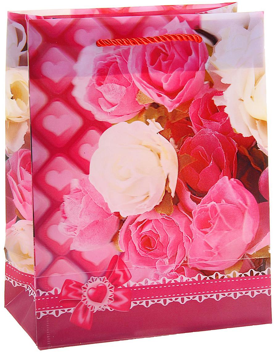 Пакет подарочный Цветы розы, 3D рисунок, цвет: розовый, 8 х 18 х 23 см. 822831 пакет подарочный розы 23 х 18 х 8 см синий