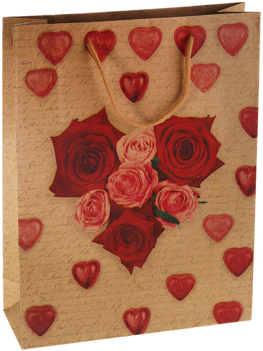 Пакет подарочный Сердце из роз, цвет: красный, 20 х 8 х 25 см. 827081827081Любой подарок начинается с упаковки. Что может быть трогательнее и волшебнее, чем ритуал разворачивания полученного презента. И именно оригинальная, со вкусом выбранная упаковка выделит ваш подарок из массы других. Она продемонстрирует самые теплые чувства к виновнику торжества и создаст сказочную атмосферу праздника. Пакет-крафт Сердце из роз - это то, что вы искали.